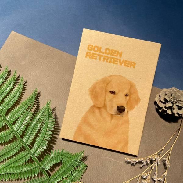 寵物友善城市系列 - 黃金獵犬 - 手工線膠裝筆記本 卡其/黑 米色道林紙,全開頁,筆記本,裸背線膠裝,日記,手帳