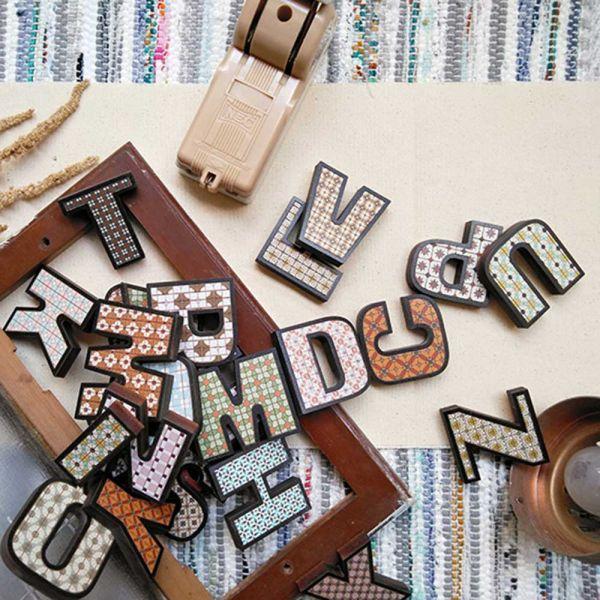 木製花磚紋路強力磁鐵 - 英文 木製磁鐵,強力磁鐵,冰箱,字母,留言,禮物,花磚