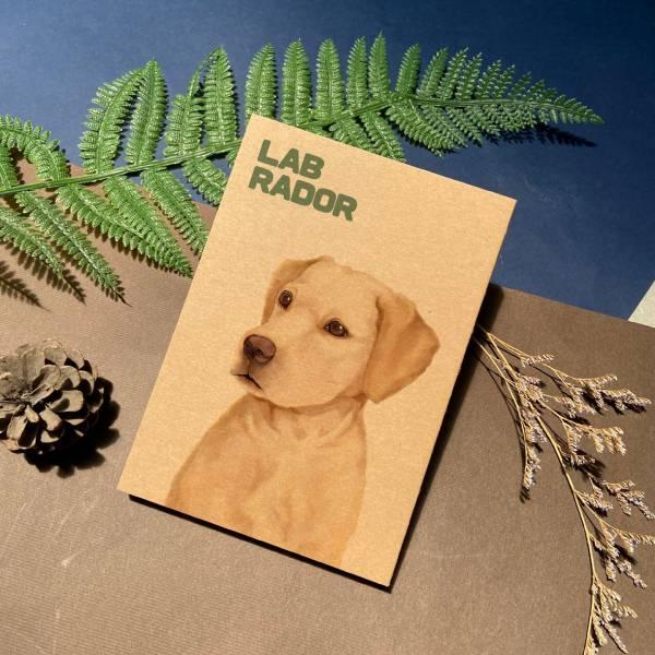 寵物友善城市系列 - 拉不拉多 - 手工線膠裝筆記本 卡其/黑 米色道林紙,全開頁,筆記本,裸背線膠裝,日記,手帳