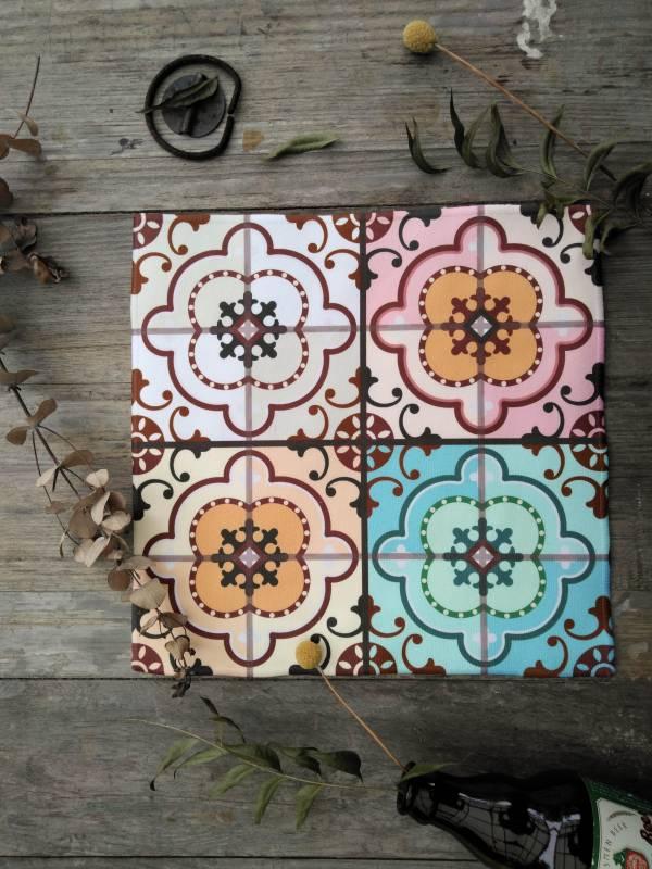 短毛纖維花磚系列方巾-IM01 方巾,毛巾,花磚,盥洗用品