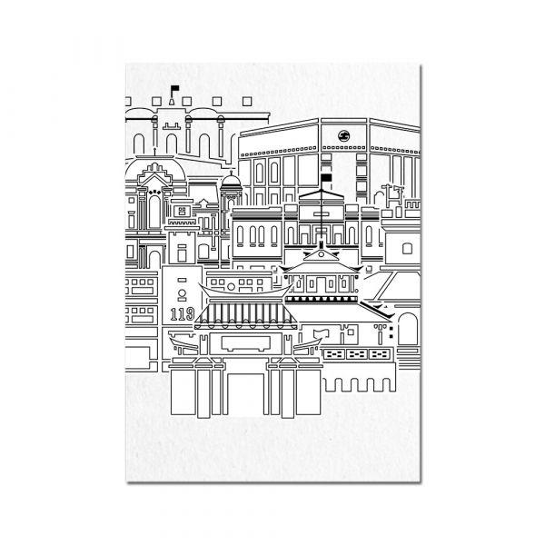 明信片-建築線條系列 臺南,明信片,旅行紀念,古蹟建築,建築線條,疊色建築