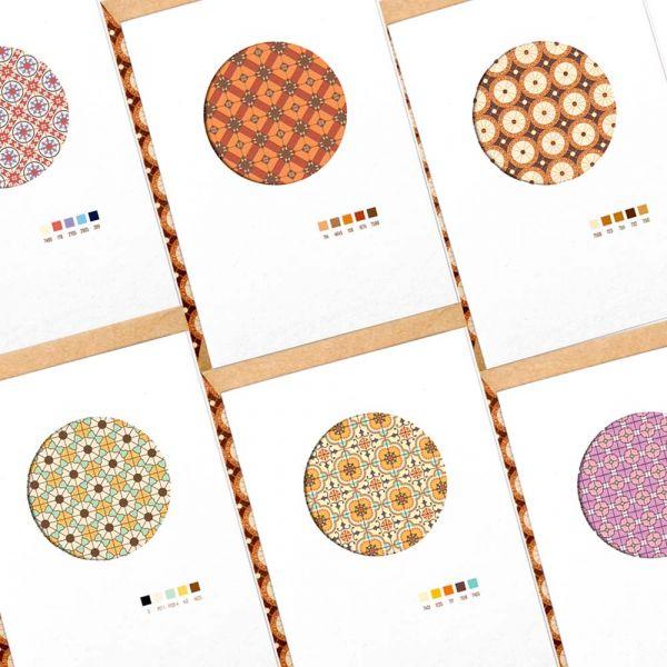花磚鑲嵌卡片 花磚,卡片,羊毛紙,設計賀卡