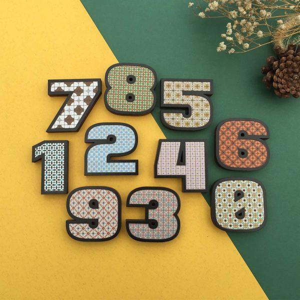 木製花磚紋路強力磁鐵 - 數字 木製磁鐵,強力磁鐵,冰箱,字母,留言,禮物,花磚