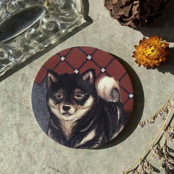 陶瓷吸水杯墊-缺磚黑柴犬 花磚,杯墊,原印臺南,浮雕技術,UV印刷,寵物,狗,陶瓷吸水杯墊,柴犬