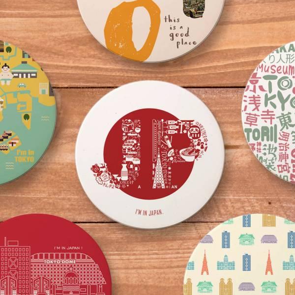 陶瓷吸水杯墊-東京系列 日本物件,日本建築,陶瓷吸水杯墊,UV印刷,文創商品,台南,紀念品,辦公室小物,禮物,母親節,情人節,父親節,兒童節,生日禮物,伴手禮,禮贈品,臺灣,台灣,觀光旅遊