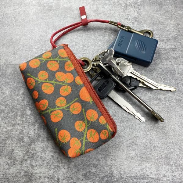 拉鍊鑰匙包 (柿子) 日本布 接單生產* 鑰匙包,keyholder,鑰匙收納,キーケース,kyecase,隨身小包,客製化