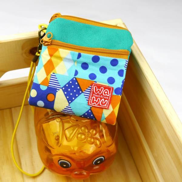 夾心吐司包 (繽紛藍格)(附繩) 日布 接單生產* Wallet,カード,お釣り入れ,小銭入れ,細かい入れ,二つ折り財布,卡片包,夾心吐司包,財布,錢包,錢夾