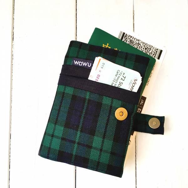 護照套+扣帶 (深藍綠格)  接單生產* 護照套,passportcase,パスポートケース