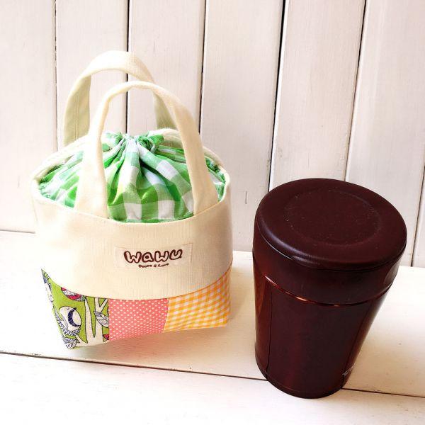 隨身杯袋 0.35L (森林野餐-綠) 接單生產* 手提包,束口袋,隨身杯袋,保溫杯袋,悶燒杯袋