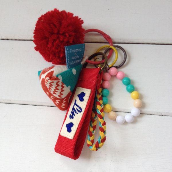 幸運粽吊飾鑰匙圈 + 刺繡鑰匙圈帶 接單生產* 吊飾串,三角吊飾,禮物,禮盒包裝,台灣伴手禮