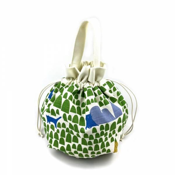 巾着袋, 束口手提袋 (貓貓森林 - 綠) *接單生產 便當袋,lunchbag,束口袋,巾着袋,drawstring