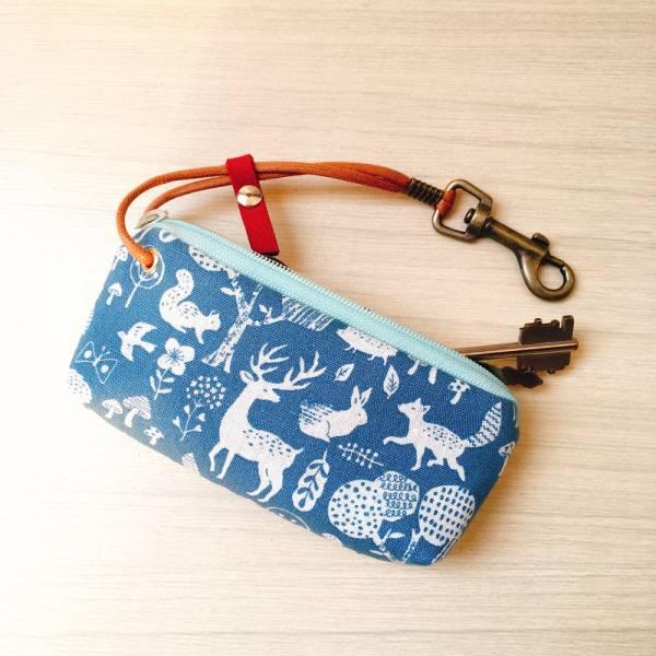 拉鍊鑰匙包 (森林派對) 日本布 接單生產* 鑰匙包,keyholder,鑰匙收納,キーケース,kyecase,隨身小包,客製化