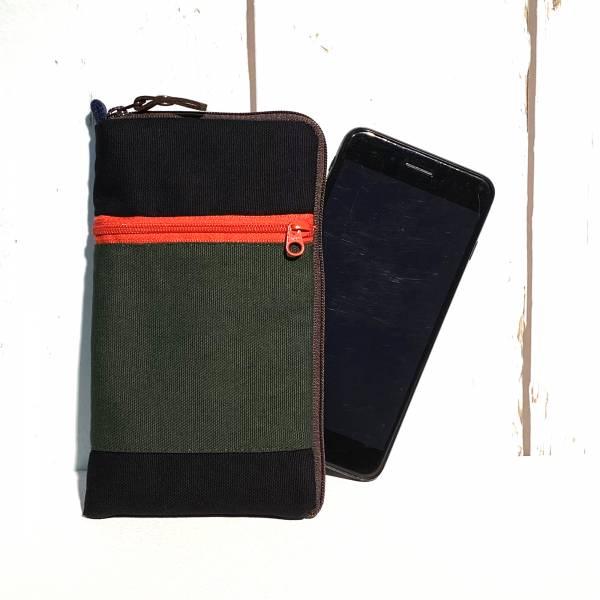 拉鍊手機包 (墨綠黑) (附繩) 接單生產* 手機袋,phonebag,携帯カバー,手機包,隨身小包,手工包,包包,Purses,かばん,カバン,鞄,手作包,布包 ,handmadebag,バッグ,ポーチ,布小物,布小物雑貨
