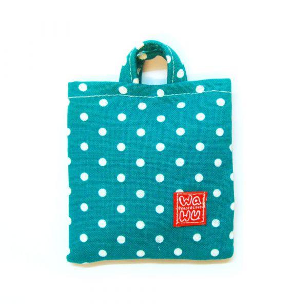 棉棉包 (湖水綠點) 接單生產* 收納包,隨身電源袋,耳機線材收納袋