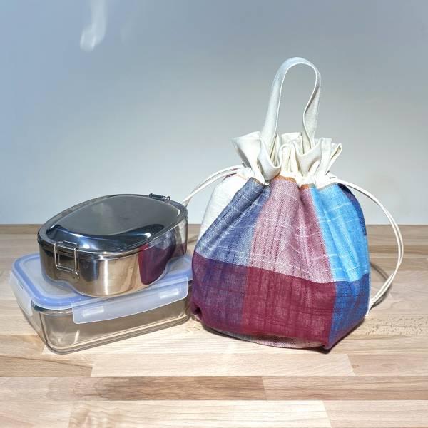 巾着袋, 束口手提袋 (大格紋 - 紅藍紫) *接單生產 便當袋,lunchbag,束口袋,巾着袋,drawstring