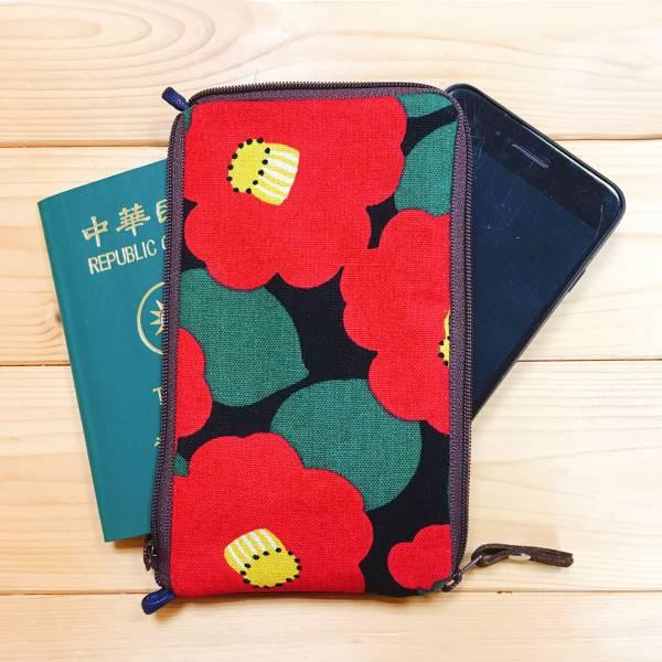多功手機包 Plus & Max (山茶花) 日本布 接單生產* 手機袋,phonebag,携帯カバー,手機包,隨身小包,手工包,包包,Purses,かばん,カバン,鞄,手作包,布包 ,handmadebag,バッグ,ポーチ,布小物,布小物雑貨