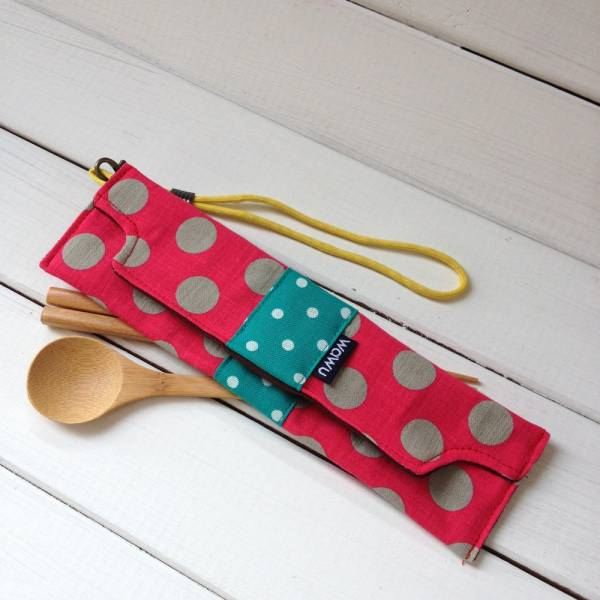 筆袋/筷套 (灰熊桃) (附木製筷子和湯匙) 接單生產* 筆袋,餐具袋,,chopsticks,箸,箸袋
