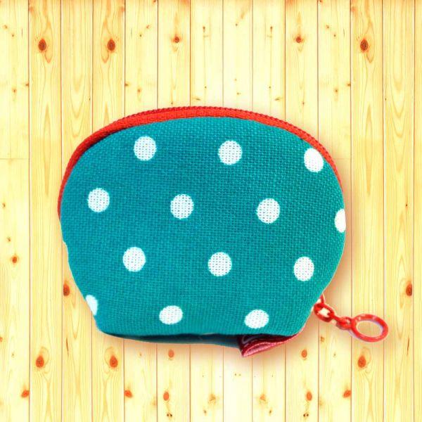 錢母小豆包 (湖水綠點) 小零錢包,隨身小包,錢包,零錢包,小包,專屬名字錢包,卡片包