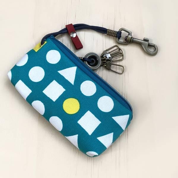 拉鍊鑰匙包 (幾何綠) 日本布 接單生產* 鑰匙包,keyholder,鑰匙收納,キーケース,kyecase,隨身小包,客製化