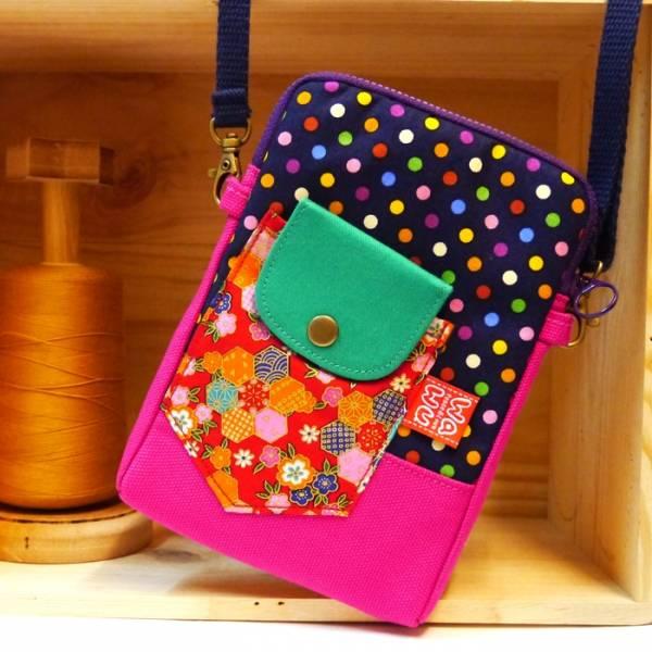 拉鍊褲頭包, 小斜背包 (藍點) (附繩) 手機袋,phonebag,携帯カバー,手機包,隨身小包,手工包,包包,Purses,かばん,カバン,鞄,手作包,布包 ,handmadebag,バッグ,ポーチ,布小物,布小物雑貨