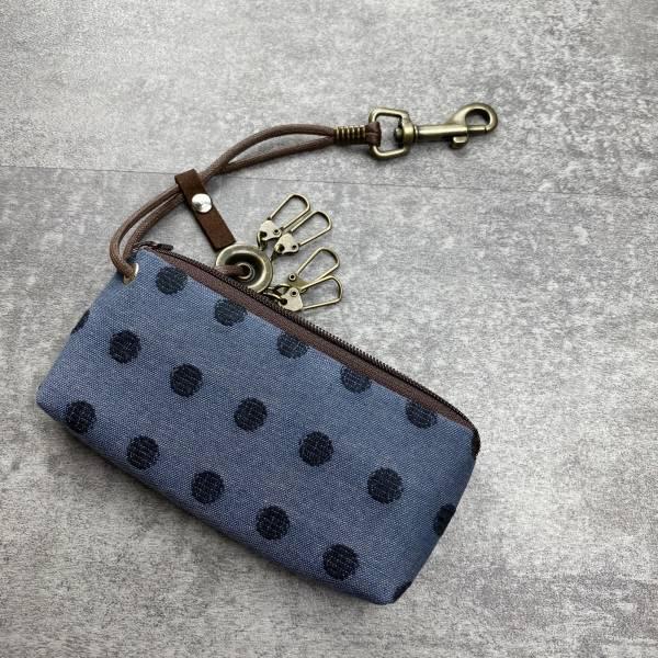 拉鍊鑰匙包 (丸織/灰藍底) 日本布 接單生產* 鑰匙包,keyholder,鑰匙收納,キーケース,kyecase,隨身小包,客製化