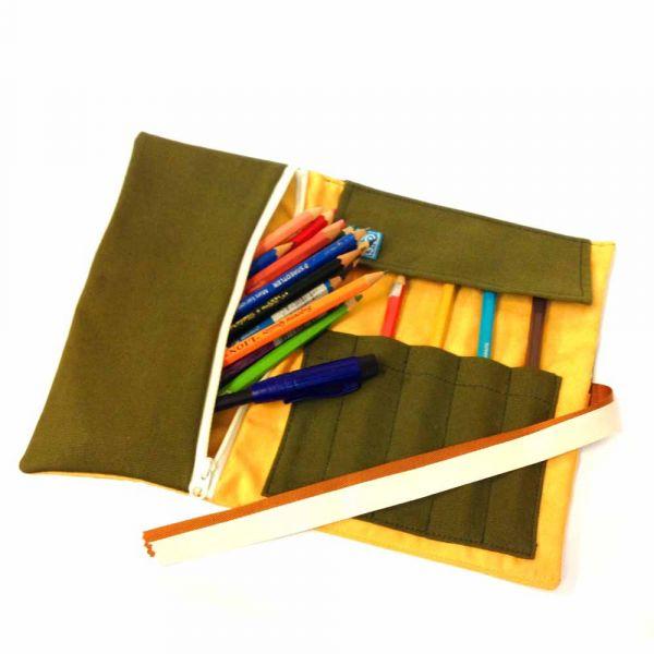 筆捲, 捲軸式筆袋 (檸檬) 筆捲,工具袋,筆袋,餐具袋,卷軸式筆捲