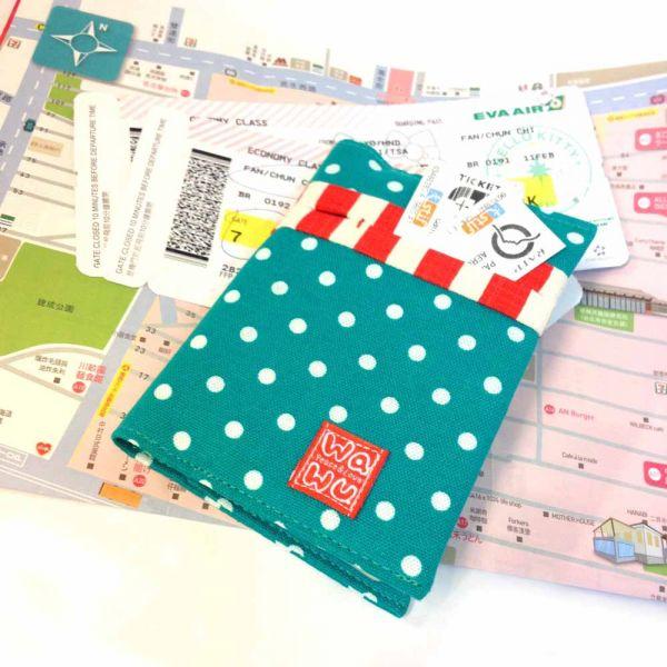護照套 (湖水綠點)  接單生產* 護照套,passportcase,パスポートケース