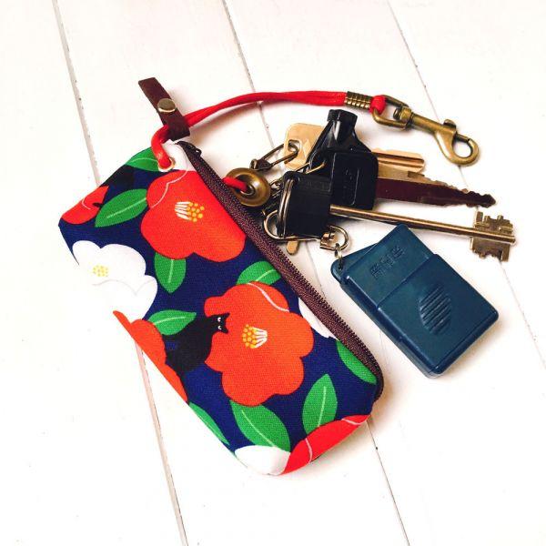 拉鍊鑰匙包 (朵朵貓/琉璃紺色) 日本布 接單生產* 鑰匙包,keyholder,鑰匙收納,キーケース,kyecase,隨身小包,客製化
