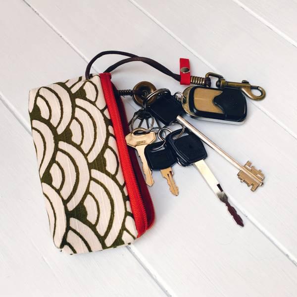 拉鍊鑰匙包 (海松色青海波) 日本布 接單生產* 鑰匙包,keyholder,鑰匙收納,キーケース,kyecase,隨身小包,客製化