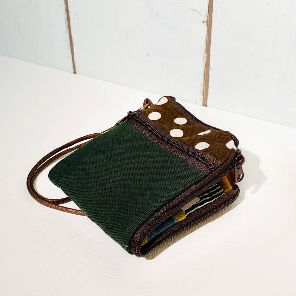 夾心短夾 (墨綠帆布與咖啡點點) (附繩) 接單生產* Wallet,カード,お釣り入れ,小銭入れ,細かい入れ,二つ折り財布,卡片包,夾心吐司包,財布,錢包,錢夾