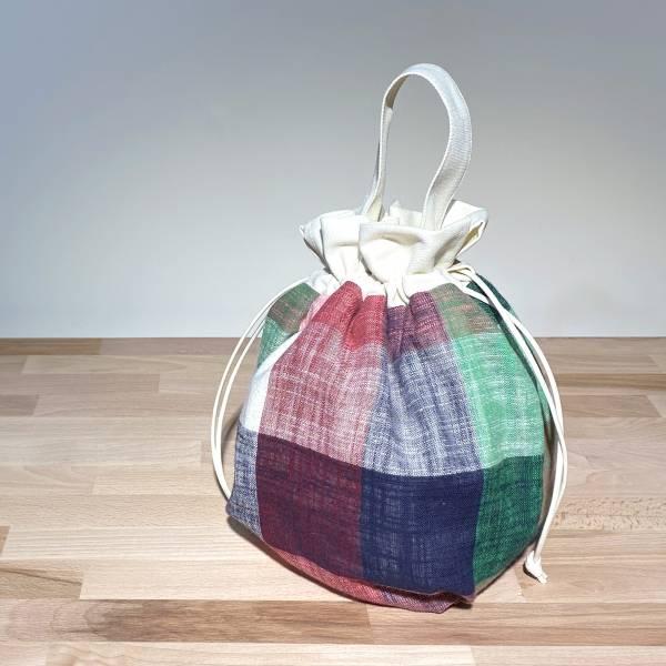 巾着袋, 束口手提袋 (大格紋 - 紅藍綠) *接單生產 便當袋,lunchbag,束口袋,巾着袋,drawstring