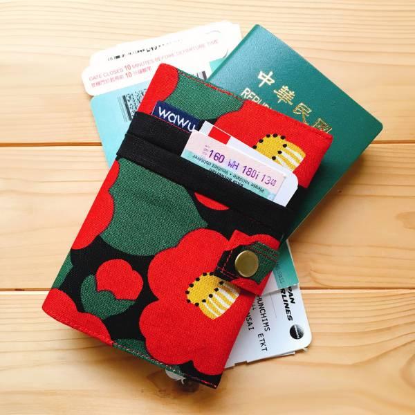 護照套+扣帶 (山茶花)  日本布 接單生產* 護照套,passportcase,パスポートケース