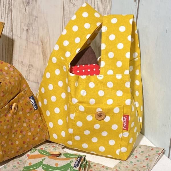 半斤購物袋 (鵝黃底白點) 日布限量訂製款* 半斤袋,環保袋,購物袋, ShoppingBag, エコバッグ