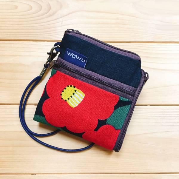 夾心短夾 (山茶花) (附繩) 接單生產* Wallet,カード,お釣り入れ,小銭入れ,細かい入れ,二つ折り財布,卡片包,夾心吐司包,財布,錢包,錢夾