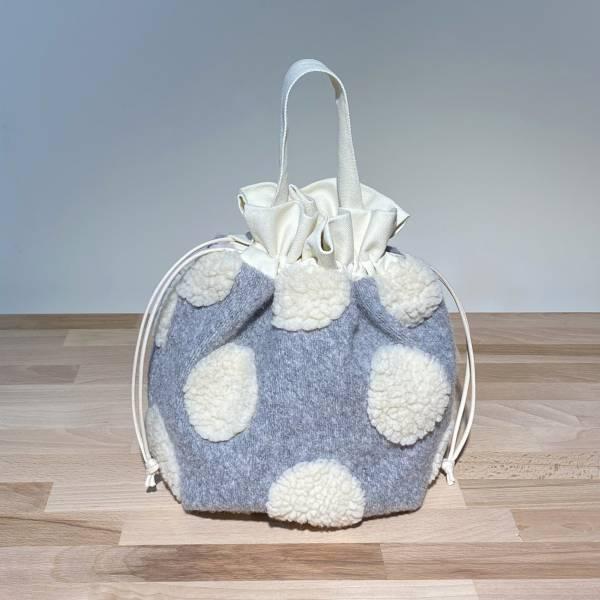巾着袋, 束口手提袋 (絨毛 - 灰) *接單生產 便當袋,lunchbag,束口袋,巾着袋,drawstring