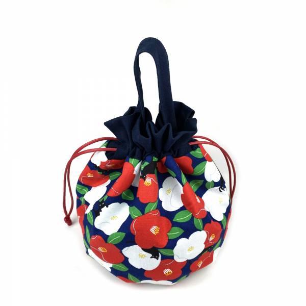 巾着袋, 束口手提袋 (朵朵貓 - 紺藍色) *接單生產 便當袋,lunchbag,束口袋,巾着袋,drawstring