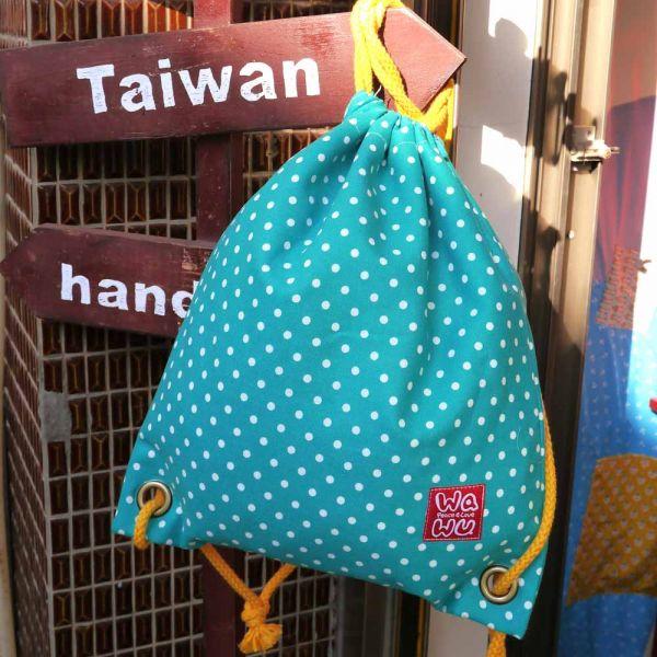 束口後背包 + 小收納袋 (湖水綠點) 束口後背包,環保袋,購物袋, ShoppingBag, エコバッグ,束口袋,後背包