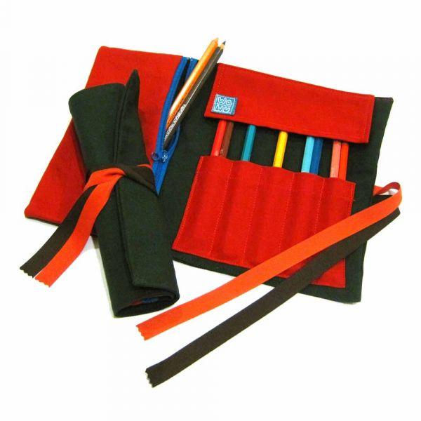 筆捲, 捲軸式筆袋 (軍綠帆布) 筆捲,工具袋,筆袋,餐具袋,卷軸式筆捲