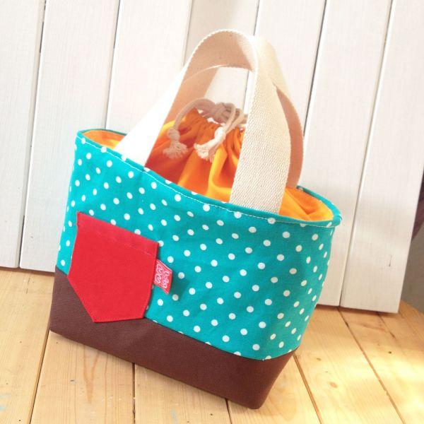 束口手提袋 (繽紛湖水綠) 早午餐便當袋 接單生產* 便當袋,午餐袋,快餐袋,手提包,早餐袋,束口袋