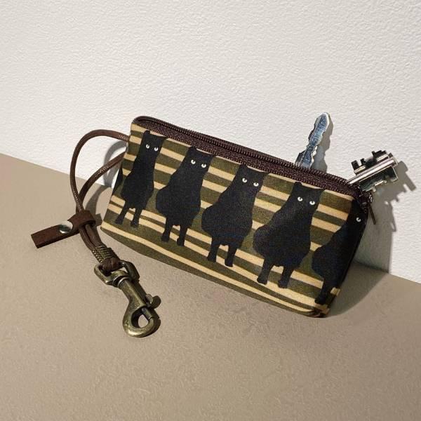 防水拉鍊鑰匙包 (黑貓) 接單生產* 鑰匙包,keyholder,鑰匙收納,キーケース,kyecase,隨身小包,客製化