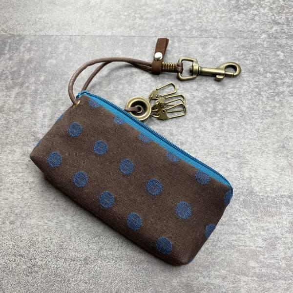 拉鍊鑰匙包 (丸織/咖啡底) 日本布 接單生產* 鑰匙包,keyholder,鑰匙收納,キーケース,kyecase,隨身小包,客製化