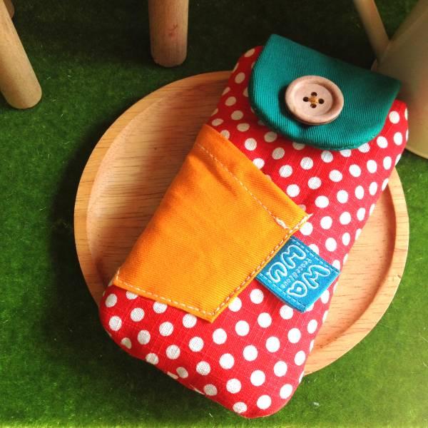 鈕釦造型手機袋 (紅色點點) (附繩) 接單生產* 手機袋,phonebag,携帯カバー,手機包