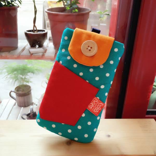鈕釦造型手機袋 (湖水綠點) (附繩) 接單生產* 手機袋,phonebag,携帯カバー,手機包