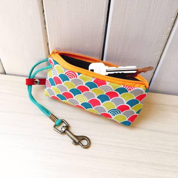 拉鍊鑰匙包 (繽紛青海波) 日本布 接單生產* 鑰匙包,keyholder,鑰匙收納,キーケース,kyecase,隨身小包,客製化