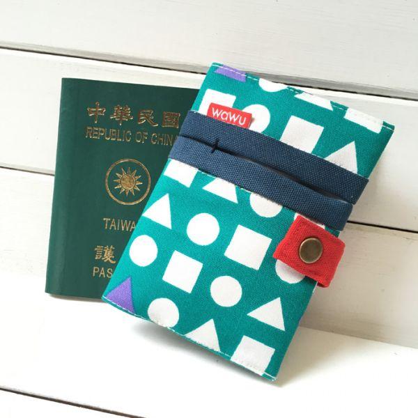 護照套 (日布幾何綠)  接單生產* 護照套,passportcase,パスポートケース