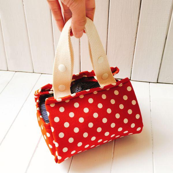 風呂敷 手作保溫保冷袋 (磚紅點) 便當袋,保冷袋,保溫袋,午餐袋,布包巾,快餐袋,早餐袋,風呂敷