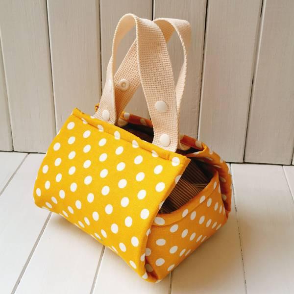 風呂敷 手作保溫保冷袋 (鵝黃點) *接單生產 便當袋,保冷袋,保溫袋,午餐袋,布包巾,快餐袋,早餐袋,風呂敷
