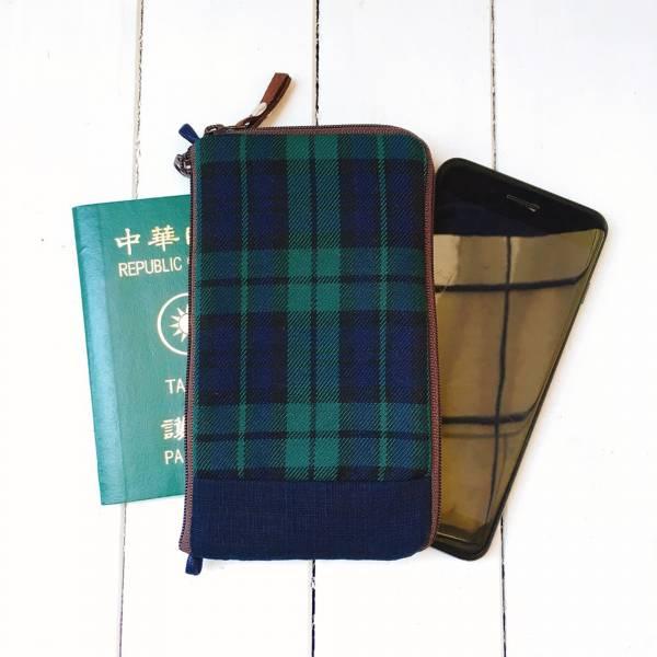 多功手機包 Plus & Max (深藍綠格) 接單生產* 手機袋,phonebag,携帯カバー,手機包,隨身小包,手工包,包包,Purses,かばん,カバン,鞄,手作包,布包 ,handmadebag,バッグ,ポーチ,布小物,布小物雑貨