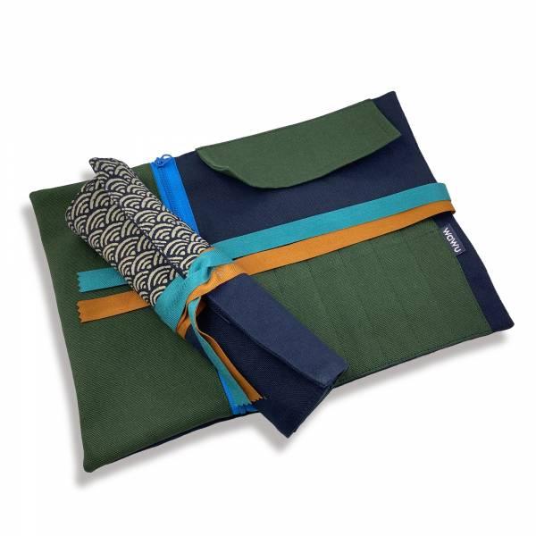 筆捲, 工具袋 (青海波) 接單生產* 筆捲,工具袋,筆袋,餐具袋,卷軸式筆捲