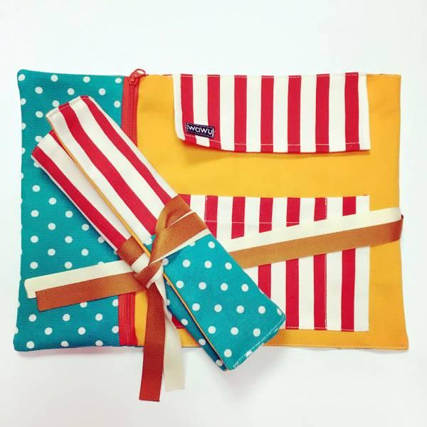 筆捲, 捲軸式筆袋 (歡樂) 接單生產* 筆捲,工具袋,筆袋,餐具袋,卷軸式筆捲
